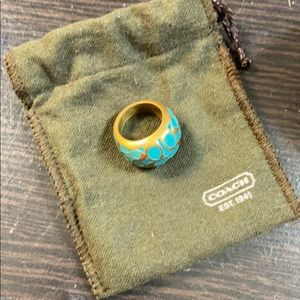 Teal Coach Fashion Ring